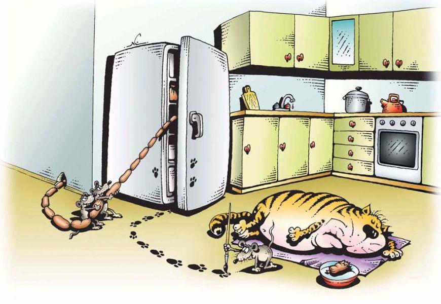 Сардельки, кот и мыши